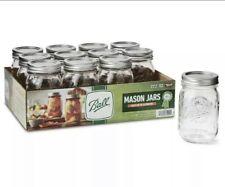 Ball  Regular Mouth Pint Canning Mason Jars, Lids & Bands Clear Glass, 12 Pack