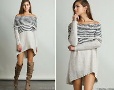 S-L Cozy UMGEE Off Shoulder Loose Oversized Boho Chunky Sweater Tunic Top Dress