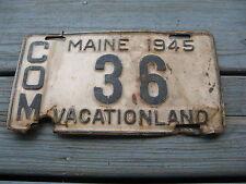 1945 45 MAINE ME COMMERCIAL COM TRUCK TRK LICENSE PLATE #36