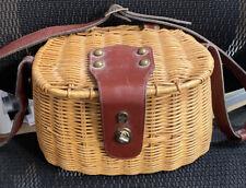 Etienne Aigner Hand Made Wicker Satchel Leather Basket Creel Purse Bag