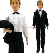 Black Formal Suit Shirt Outfit Wedding Groom Clothes Tuxedo For Barbie Ken Doll