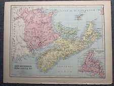 1874 NEW BRUNSWICK NOVA SCOTIA LARGE COLOURED MAP BY JOHN BARTHOLOMEW