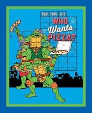 1  Teenage Mutant Ninja Turtles Who Want's Pizza Wall /Lap Quilt Panel  Fabric