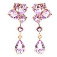 EARTH MINED 9X7MM PINK AMETHYST GEMSTONE ROSE GOLD & STERLING SILVER 925 EARRING