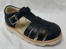 BNIB Clarks Childrens Crown Stem Navy Leather Air Spring Sandals G Fitting