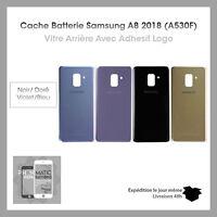 Vitre arrière Samsung A8 2018(A530F) Noir/Orchidée/Or/Violet/Bleu Logo + Adhesif