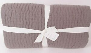 Pottery Barn Pick-stitch handcrafted cotton linen FQ quilt flagstone full queen