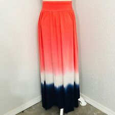 TIME AND TRU Think Spring Stretchy Pink White Blue DipDye Maxi Skirt SIZE Small