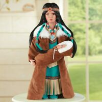 Native American Style Teal Outfit Porcelain Collectible Doll Holding Baby NEW