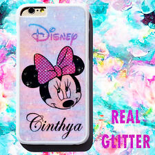 New Real Glitter Personalised Rainbow Bling Sparkle Disney Case Cover for iPhone