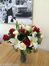 STUNNING LARGE ROSE , LILY & HOP SPRAY ARTIFICIAL SILK FLOWER VASE ARRANGEMENT