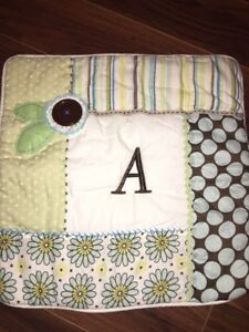 Pottery Barn PB Teen Pillow Cover Button Initial Letter A Blue Green Polka Dots