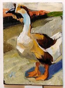 ACEO original oil painting GOOSE animal bird portrait impressionist fine art ATC