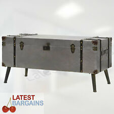 Silver Coffee Table Blanket Box Chest Storage Trunk