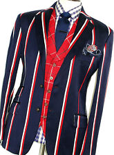 RARE MENS HACKETT LONDON LONDON NAVY BOLD CHALKSTRIPE SPORTS SUIT 42R W36 X L32