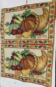 """Set of 2 Same Kitchen Tapestry Placemats(13""""x19"""") FALL, HARVEST VEGETABLES, HC"""