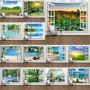 Beach Landscape Outside The Window Tapestry Nature Scenic Wall Hanging Art Decor