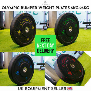 Olympic Bumper Weight Plates 5kg - 25kg Hi Impact Rubber Weights Sets Training