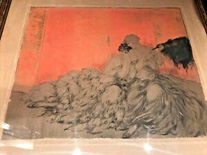 """Vintage Louis Icart Etching Art MOCKERY Framed Blind Stamped France 23"""" x 25"""""""