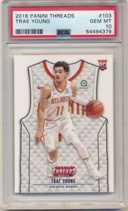 TRAE YOUNG 2018/19 PANINI THREADS #103 RC ROOKIE HAWKS PSA 10 GEM MINT $400+