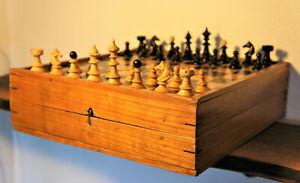 Antique Chess set 1880 Austrian Coffee house schachspiel alt holz vintage board