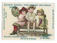 Old Trade Card Electric Lustre Starch Laundry Sold By Grocers Children Bench Fan
