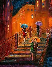 ANDRE DLUHOS City night lights rain umbrellas love limited edition . Art PRINT