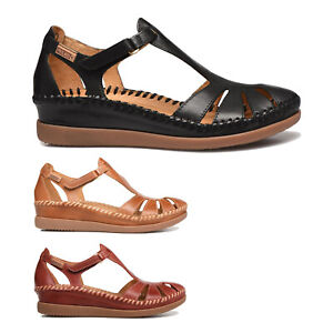 Pikolinos Womens Sandals Cadaques Casual Hook-And-Loop Wedge Flats Leather