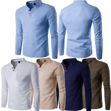 MEN'S LINEN LONG SLEEVES V-NECK CASUAL T-SHIRT MANDARIN COLLAR VINTAGE SHIRTS