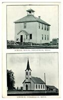 Early 1900s School House and Church, Nielsville, MN Postcard