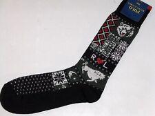 POLO RALPH LAUREN Men's Wool Camp Patchwork Socks, Bear, Buffalo 10-13 Fits Most