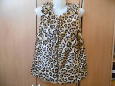 Zara Girls Fake Leopard Skin Fur Front Zip Gilet - 13-14 Years/164