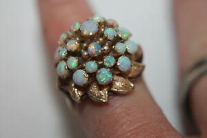 Vintage Antique Solid 12K (.500) Yellow Gold Opal Harem Domed Ring Sz 6.5