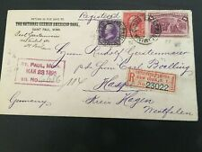 1895 US Stamped Registered Envelope St. Paul, MN to Germany  #2