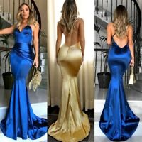 Women Satin Mermaid Formal Wedding Dress Backless Long Evening Party Prom Gown