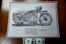 HRD Vincent Rapide Motorcycle Art Print Classic Antqie Vintage