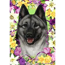 Norwegian Elkhound Easter Flowers Flag