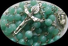 Nice Natural Amazon Amazonite BULE BEADS Rosary Cross Necklace CATHOLIC crucifix