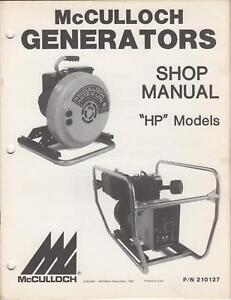 1981 McCULLOCN GENERATOR SHOP MANUAL HP MODELS