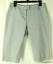 New York & CO  4 Blue & White Railroad Pin Stripe Bermuda Walking Shorts Chino