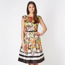 BNWT DEBUT MULTI COLOURED GARDEN FLORAL PRINT PROM DRESS WITH BELT SIZE UK 14