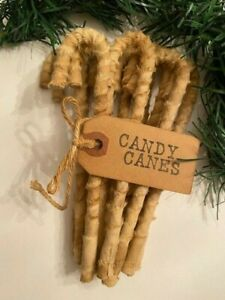 """12 Primitive 6"""" Grungy Coffee stained Muslin Candy Canes Christmas Farmhouse"""