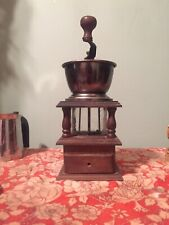ANTIQUE VINTAGE COFFEE  GRINDER MILL CAST IRON WOODEN HANDLE DOVETAIL BOX glass