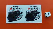 x2  Alain Prost Helmet F1 Stickers  F1 McLaren Honda 50mm x 50mm