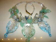 Vintage Miriam Haskell Poured Glass Flower Leaf Bead Crystal Dangle Bib Necklace