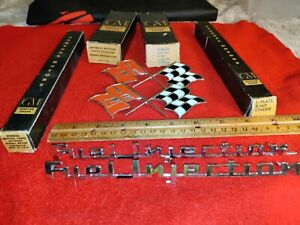 4 VTG  boxed GM Corvette 1961 boxed  2 Crossed flags ,Fuel Injection emblems NOS