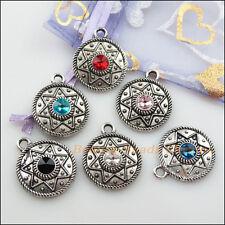 6Pcs Tibetan Silver Mixed Crystal Flower Star Charms Pendants 22x26.5mm
