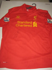 LIVERPOOL- RAHEEM STERLING HAND SIGNED 2012-13 HOME JERSEY+ PHOTO PROOF + C.O.A