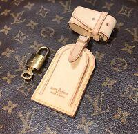 Authentic Louis Vuitton Leather Name ID Tag w/ Lock & Key Set