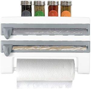 Kitchen Roll Dispenser Wall-Mount Paper Towel Holder Wrap Film Storage Rack